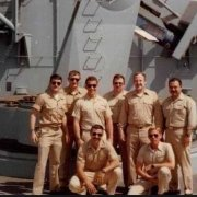 Alex Perez, far right, with his shipmates on the USS Samuel B. Roberts in 1988. Photo courtesy of the author.