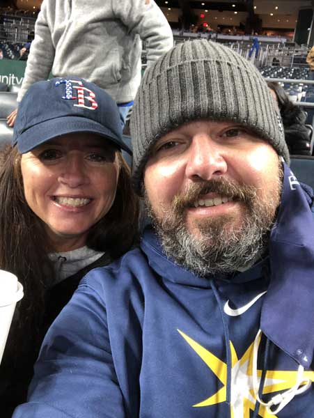 Eric and Dara Tangeman at a Kansas City Royals game in 2021. Photo courtesy of the author.