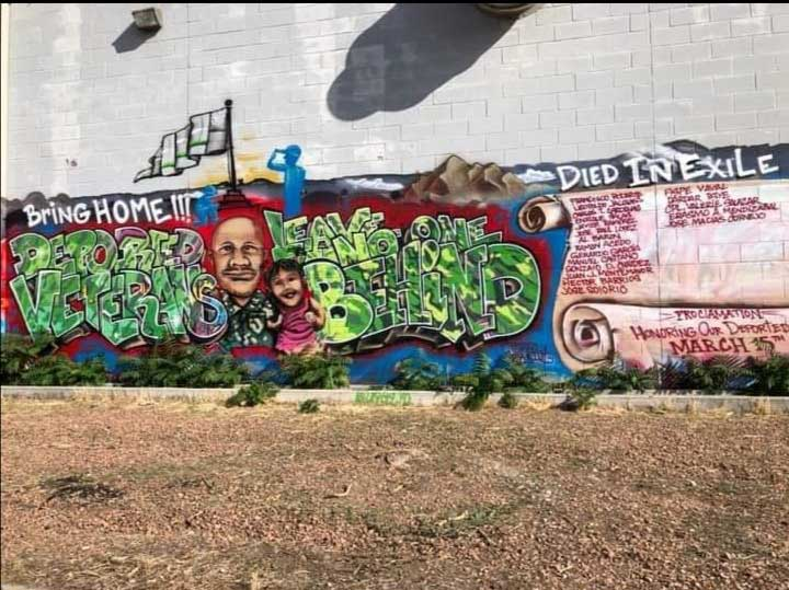 A mural in Ivan Ocon's hometown of Las Cruces, New Mexico, that represents his fight to bring home deported veterans and to honor veterans who died in other countries after being deported. Photo courtesy of Ocon.