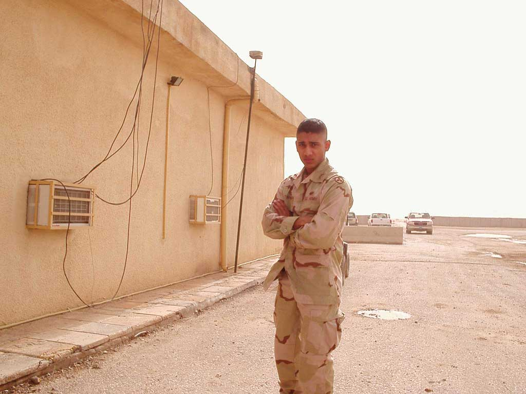 John Thampi in Tallil, Iraq, in 2005, where he served as a second lieutenant. Photo courtesy of the author.