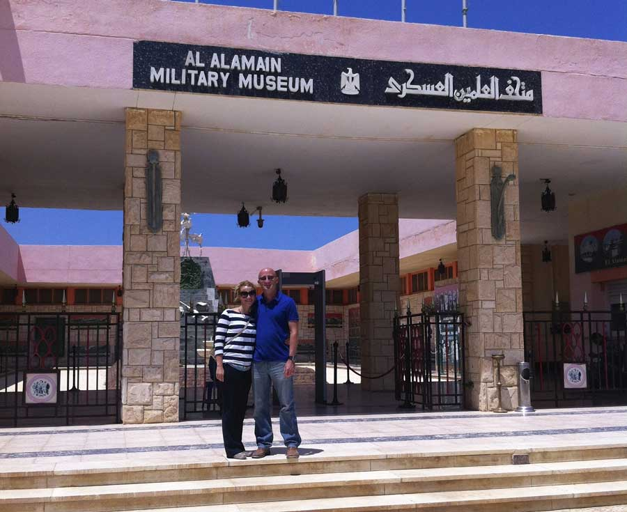 Kathlyn Clore and her husband pose in front of the El Alamein Military Museum just outside Alexandria, Egypt. Photo courtesy of the author.
